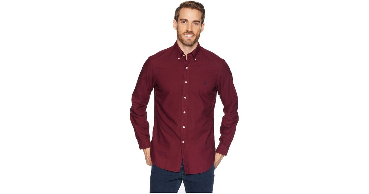 f50c54a757 Lyst - Polo Ralph Lauren Long Sleeve Solid Garment Dyed Oxford Classic Fit  Sport Shirt in Red for Men