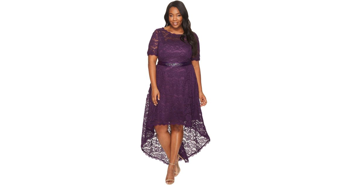 Adrianna Papell Purple Plus Size Short Sleeve Lace Dress With High-low Hem
