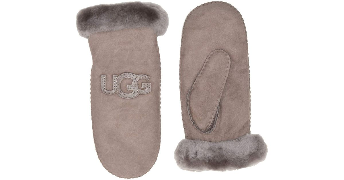 c098ecefc7c Ugg Gray Logo Water Resistant Sheepskin Mitten (black) Extreme Cold Weather  Gloves