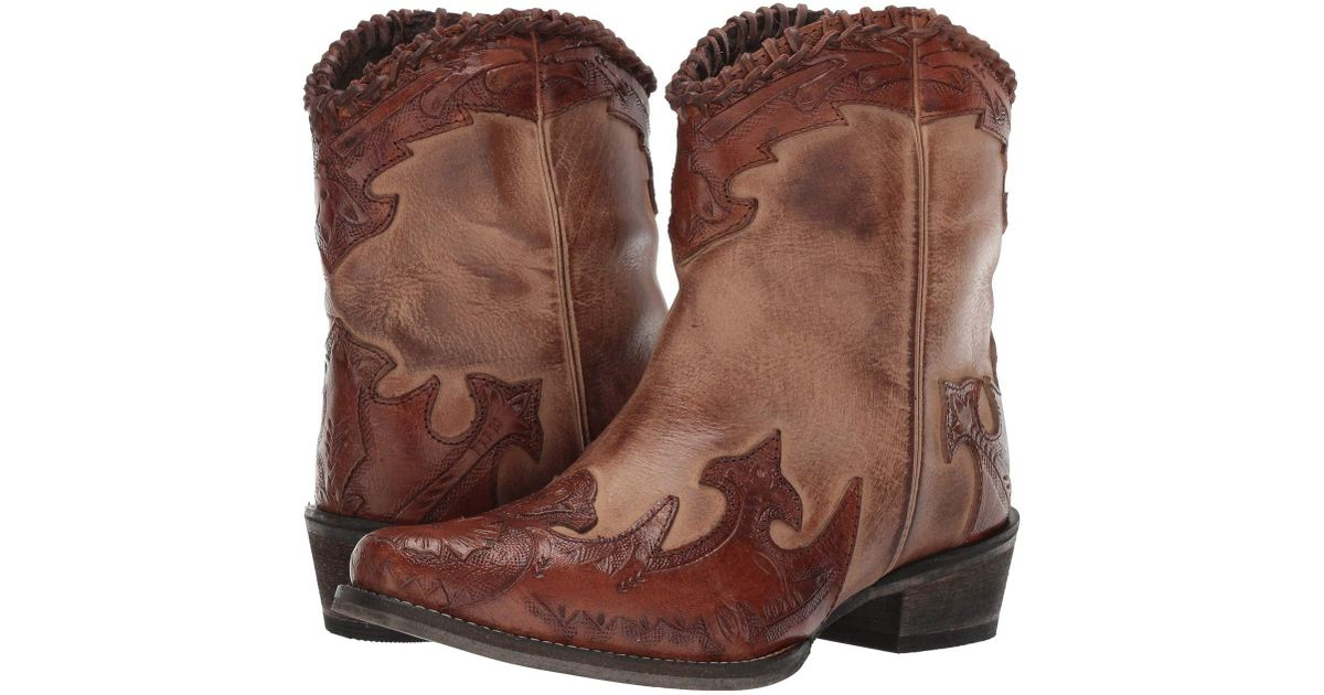 353a2ec45b2 Roper Abigale (burnished Brown Leather/tooled Wingtip & Crown) Cowboy Boots