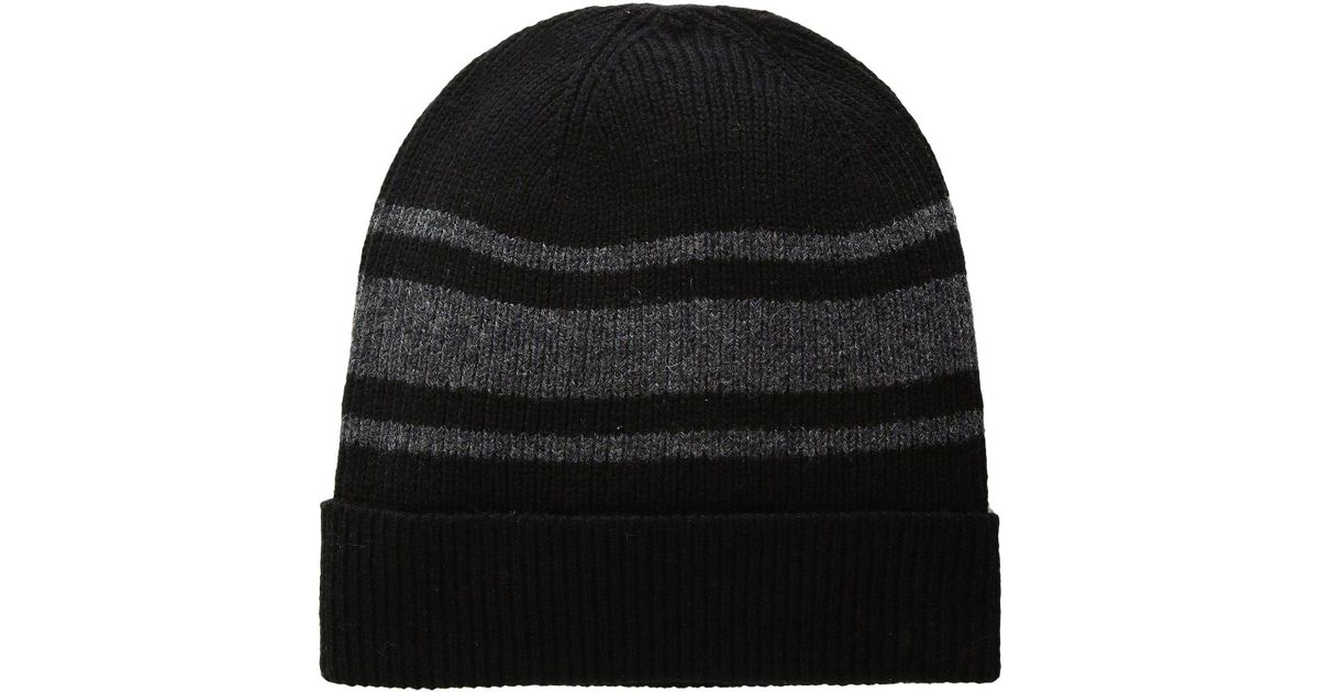 Lyst - Polo Ralph Lauren Cashmere Blend Rugby Stripe Cuff Hat in Black fbd44b5f0c6