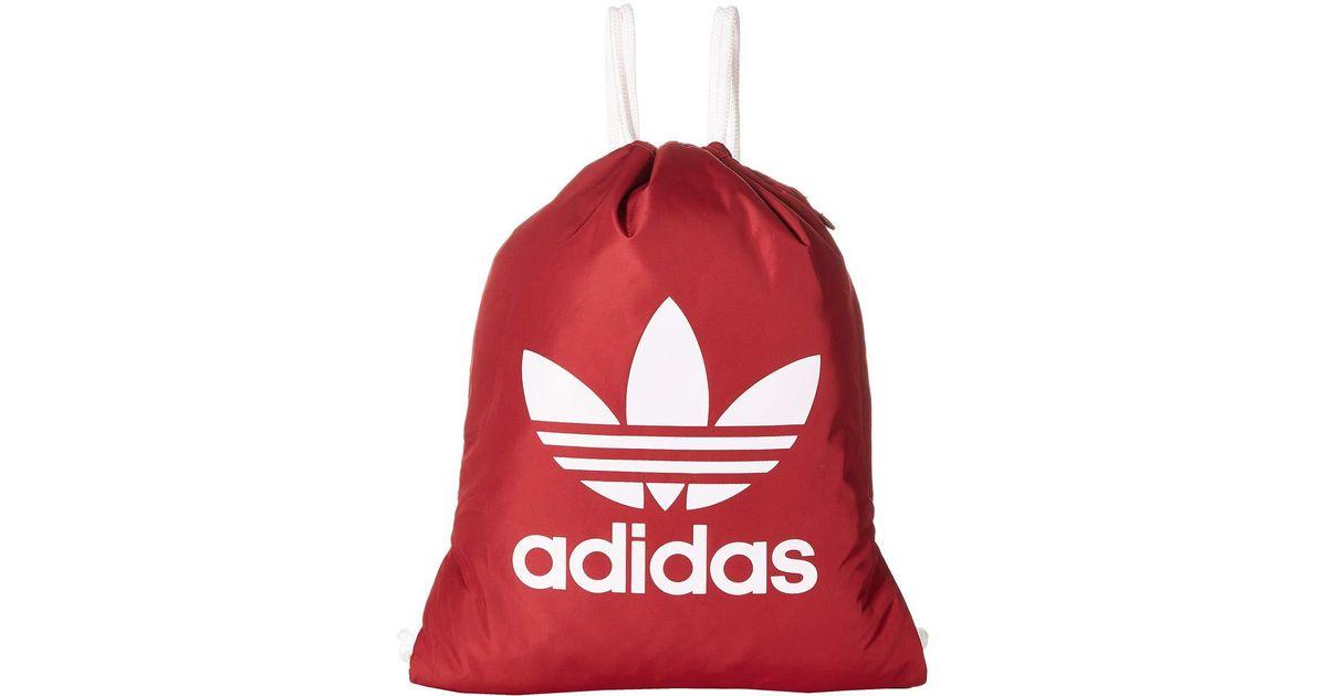 91b7327b64 Lyst - adidas Originals Originals Trefoil Sackpack (white black) Bags in  Red for Men