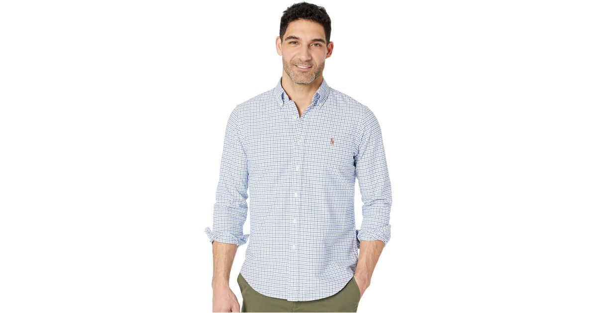 3adc1702682 ... promo code lyst polo ralph lauren standard fit oxford sport shirt blue  white gingham mens clothing