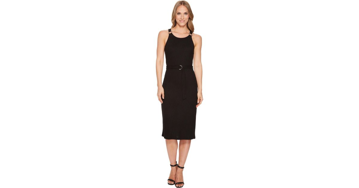 222cb617a95b MICHAEL Michael Kors Rib Circle Trim Dress in Black - Lyst