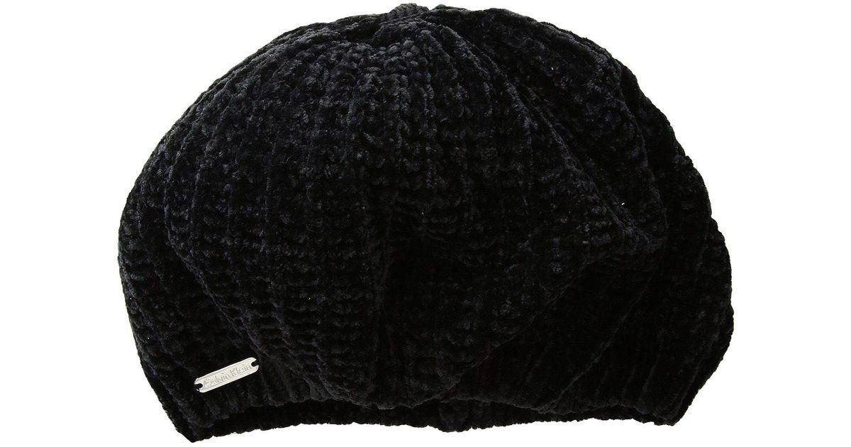 8524f705f4d Lyst - Calvin Klein Chenille Open Knit Beret in Black