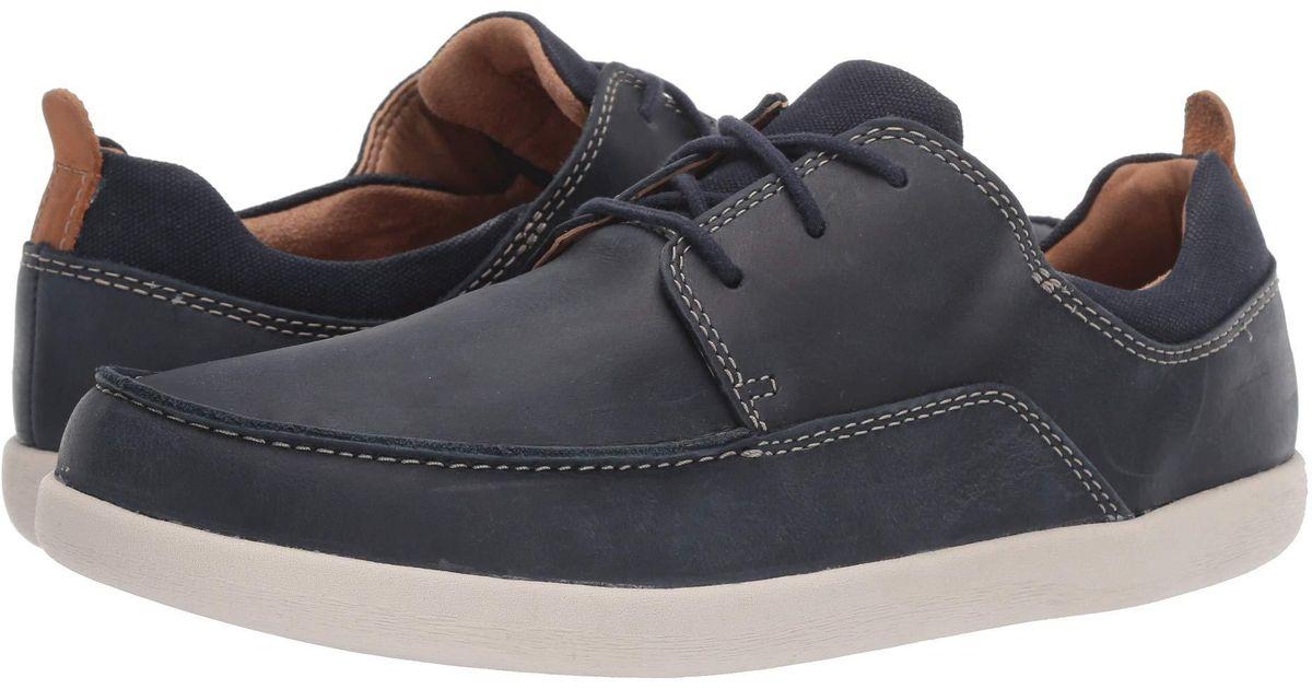 best sneakers 85ee4 437b9 Clarks Blue Un Lisbon Lace (brown Leather/canvas Combination) Men's Shoes  for men