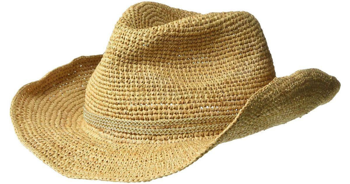 aaef912f8 Hat Attack Metallic Raffia Crochet Cowgirl With Sparkle Trim (natural/gold)  Caps