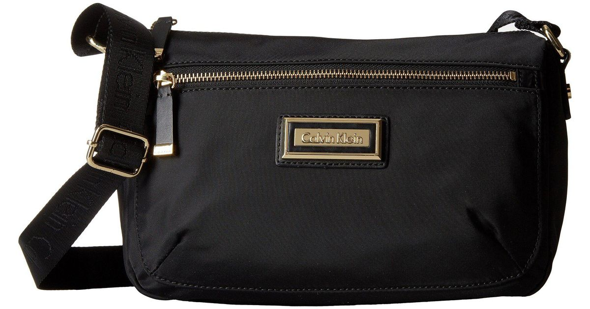 Lyst Calvin Klein Belfast Nylon Crossbody Black Silver Cross Body Handbags In