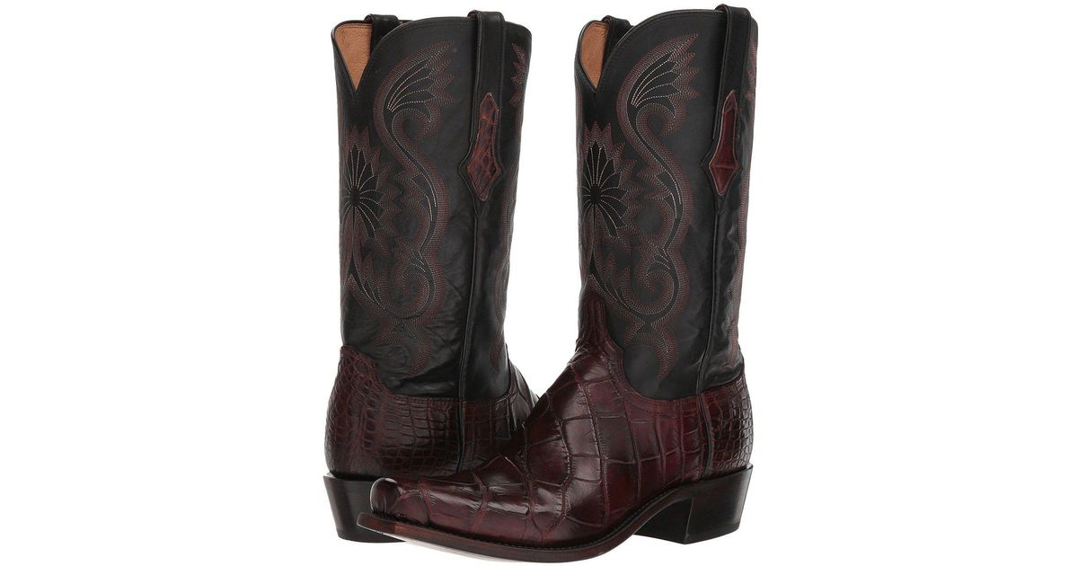 f7de30bbb46 Lucchese Brown Rio (antique Black Giant Gator) Cowboy Boots for men