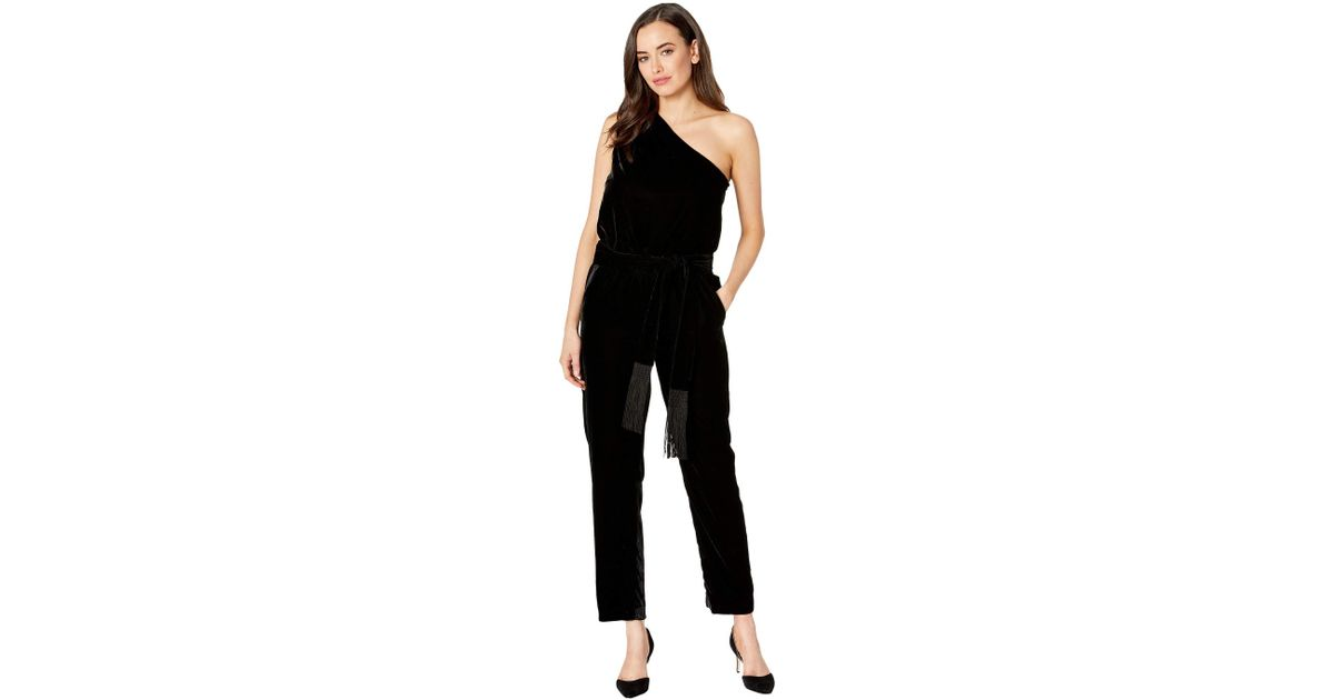 479f8dc9eca3 Lyst - Lauren by Ralph Lauren Velvet One-shoulder Jumpsuit (polo Black) Women s  Jumpsuit   Rompers One Piece in Black