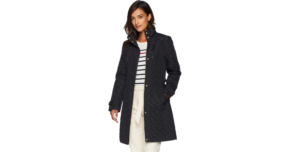 27e18f669 Cole Haan - Black Belted Signature Quilt Zip Front Coat With Trapunto  Stitching Details - Lyst