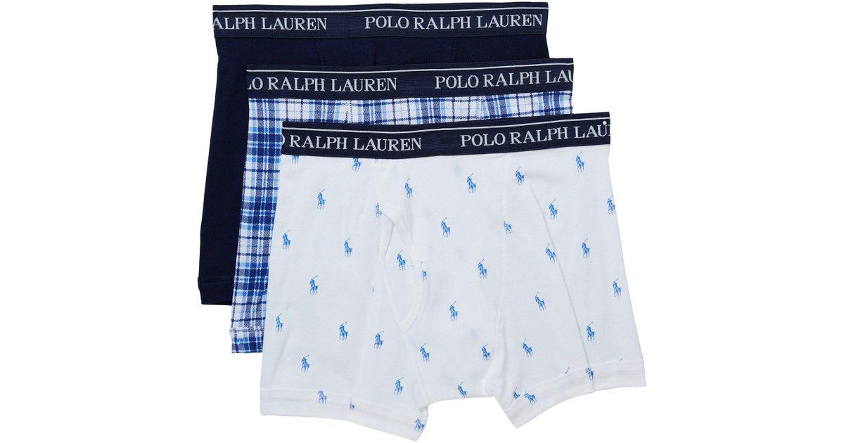 e7ba0098d79 Polo Ralph Lauren Blue Boxer Briefs 3 Pack (white/ocean Plaid/cruise Navy)  Men's Underwear for men