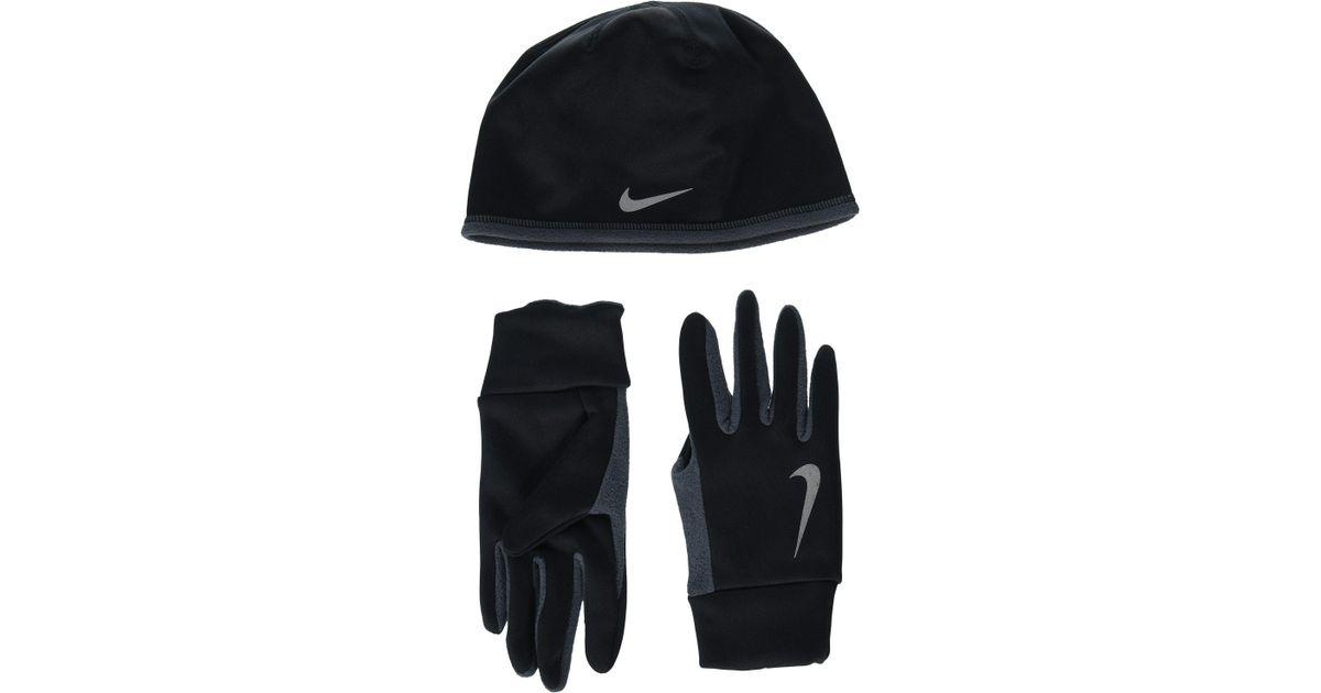 c475f405f16 Lyst Nike Run Thermal Hat And Gloves Set Black Anthracite Silver