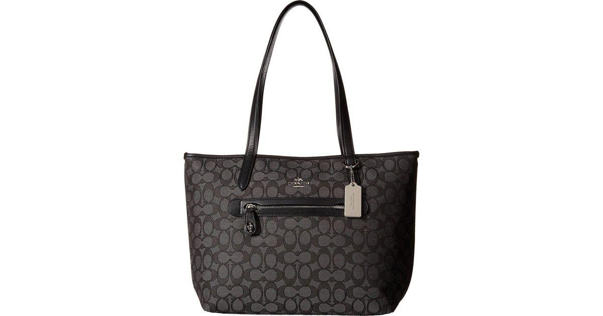 548e853ebba3 Lyst - COACH Signature Taylor Tote (li light Khaki chalk) Tote Handbags in  Black