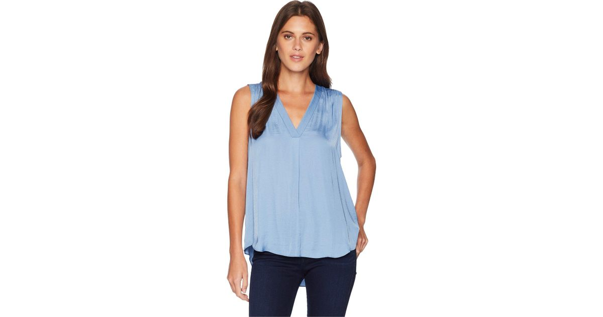 3be259bb77864 Lyst - Vince Camuto Sleeveless V-neck Rumple Blouse (cabernet) Women s  Blouse in Blue