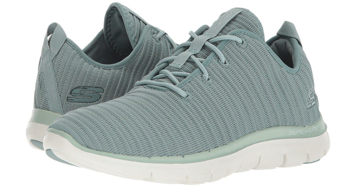 SKECHERS SKECHERS Flex Appeal 2.0 Estates (Sage) Women's Lace up casual Shoes from Zappos | ShapeShop