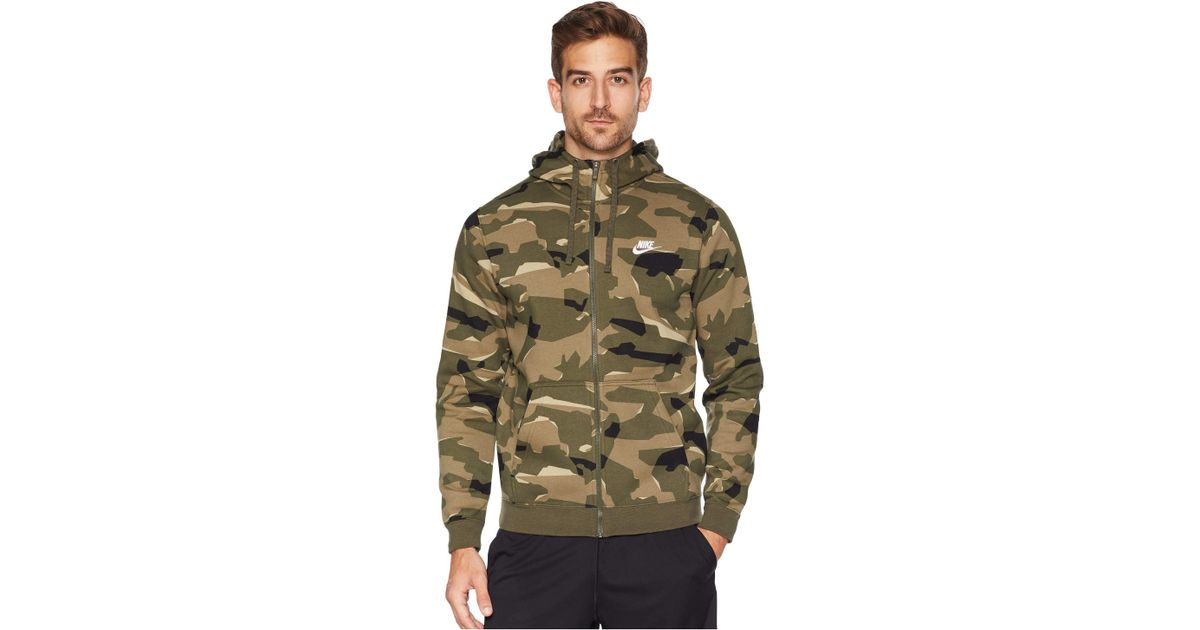b4b47c34a Nike Nsw Club Camo Hoodie Full Zip Bb (cargo Khaki/cargo Khaki/white) Men's  Sweatshirt for Men - Lyst
