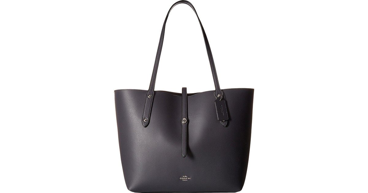 787fae09abfe3 Lyst - COACH Polished Pebbled Leather Market Tote (li black true Red)  Handbags in Blue