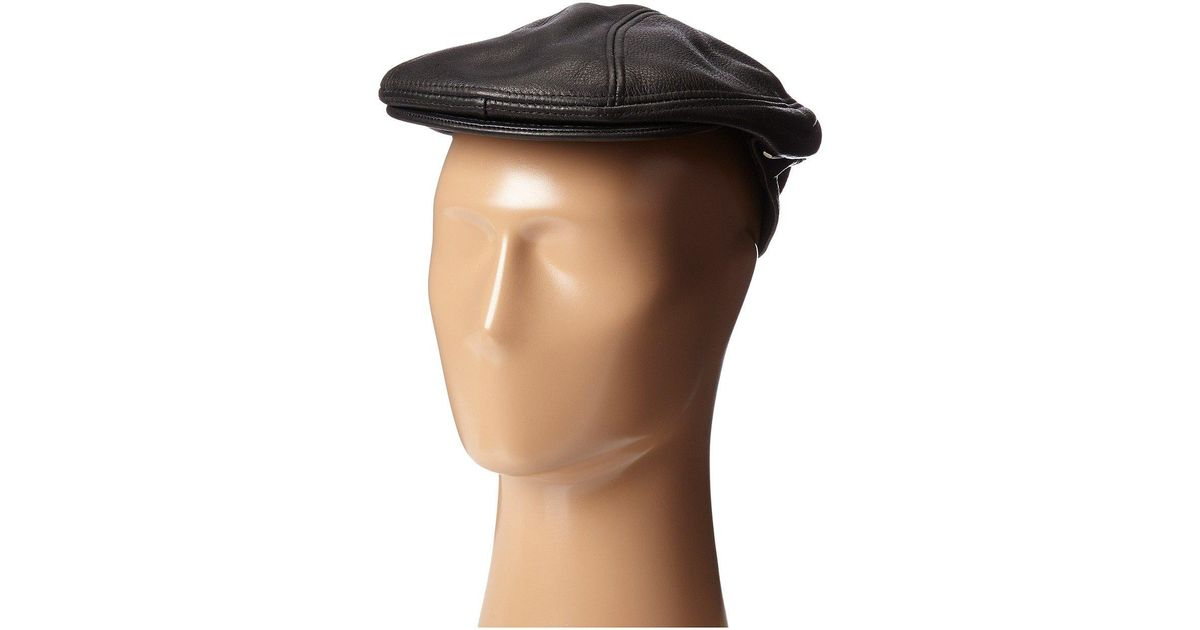 Lyst - Stetson Distressed Leather Ivy Cap in Black for Men 22ba0ddcc7c