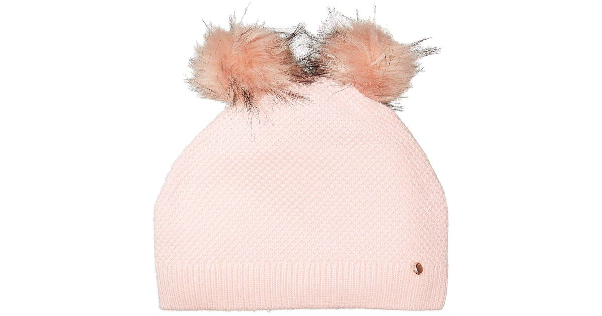 2ecb22fb2df Lyst - Ted Baker Double Pom Pom Hat in Pink
