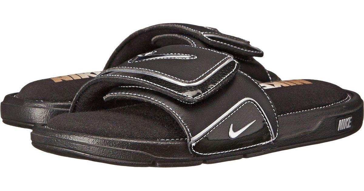 17913786ddb Lyst nike comfort slide black metallic silver white mens slide shoes in  black for men save