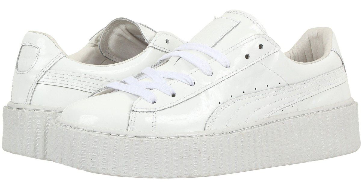 new style 5f18b dbe9d PUMA White Basket Creepers Glow Rihanna Sneakers