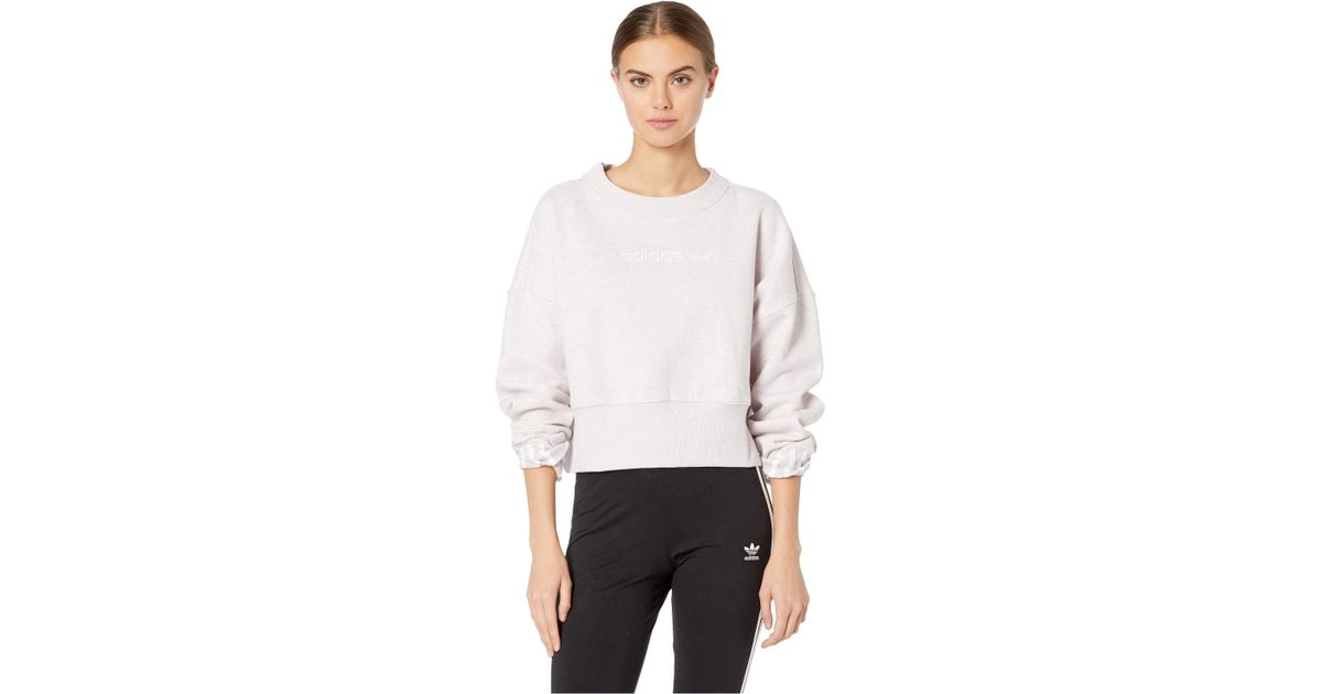 34c975f774 adidas Originals Coeeze Cropped Sweatshirt (orchid Tint Melange) Women's  Sweatshirt in White - Lyst