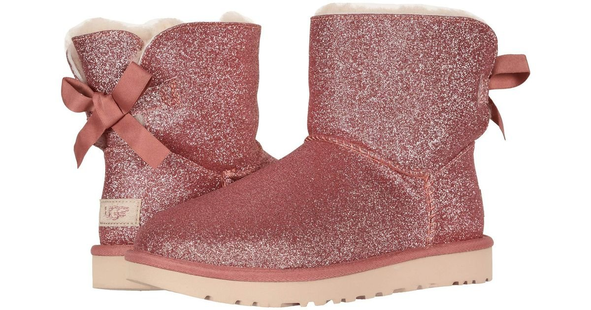Ugg Pink Mini Bailey Bow Sparkle Boot (silver) Women's Pull on Boots