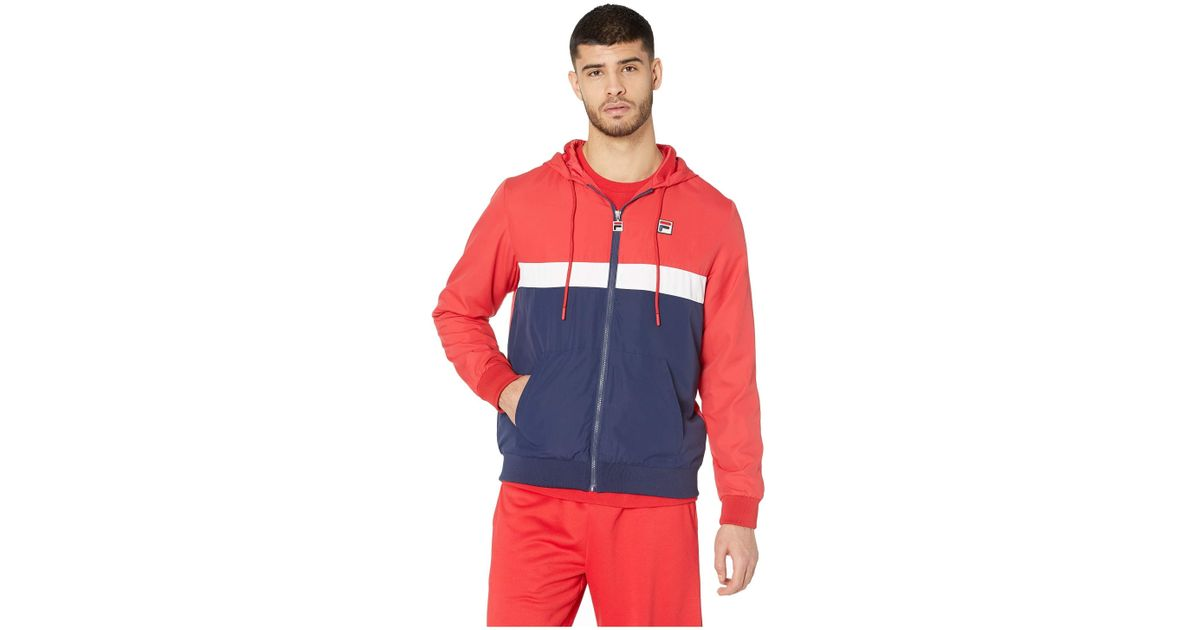 01c6ed302 Fila Ambrose Hooded Wind Jacket (chinese Red/peach/white) Clothing for men
