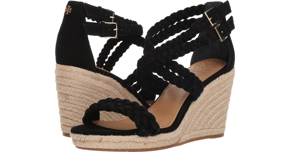 d2f862883 Lyst - Tory Burch Bailey 2 90mm Ankle Strap Wedge Espadrille in Black