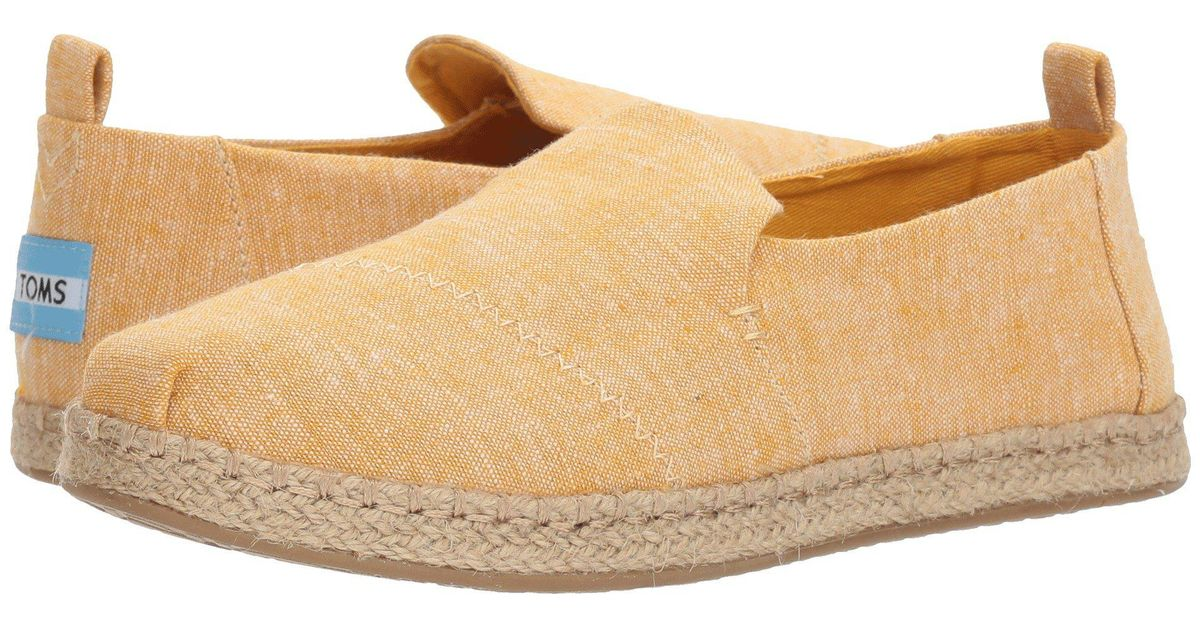 5e083216f8a Lyst - TOMS Deconstructed Alpargata Rope (blossom Slub Chambray) Women s Slip  On Shoes in Natural