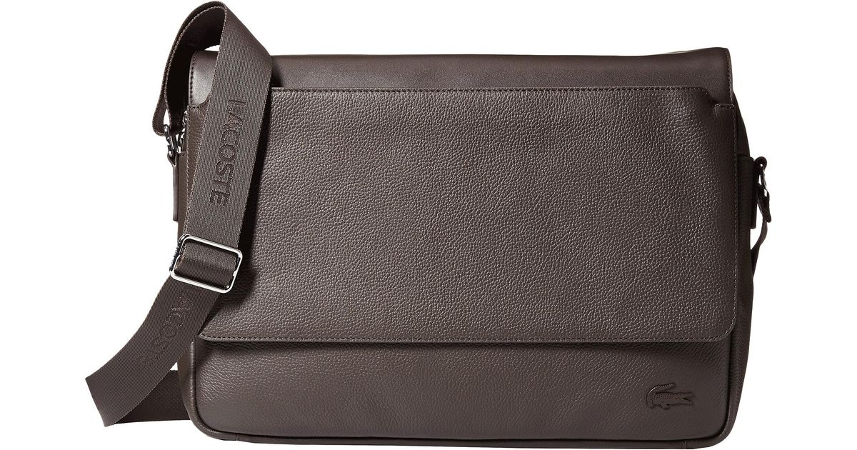 LACOSTE MESSENGER Shoulder Bags Downtown 1 Leather Brown
