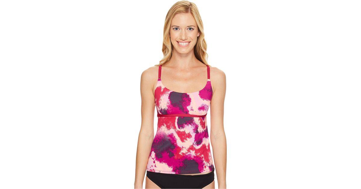 b1912dd6848dd5 Lyst - Nike Cascade V-back Tankini Top in Pink