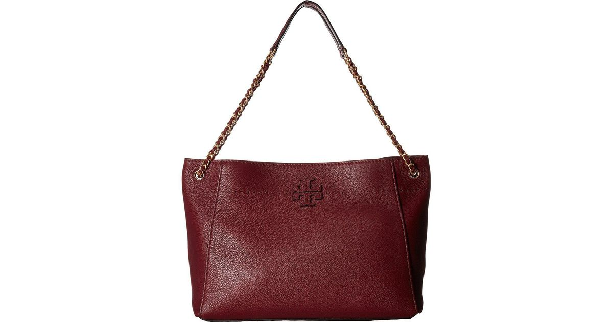 e52c9468958 Lyst - Tory Burch Mcgraw Chain-shoulder Slouchy Tote in Red