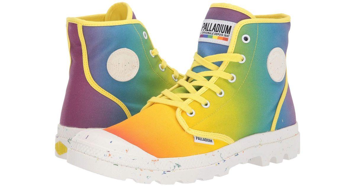 nya lägre priser tidlös design kampanjkoder Palladium Yellow Pampa Pride (rainbow Tie-dye) Lace-up Boots for men