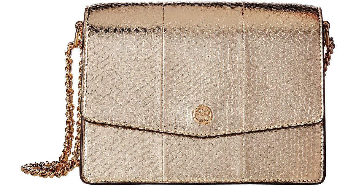020e228fb915 Lyst - Tory Burch Robinson Exotic Convertible Shoulder Bag in Metallic -  Save 47%