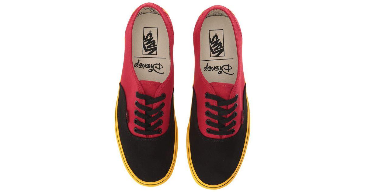 de57448b0da10b Lyst - Vans Mickey s 90th Disney(r) Authentictm ((disney) Mickey red yellow)  Skate Shoes in Red