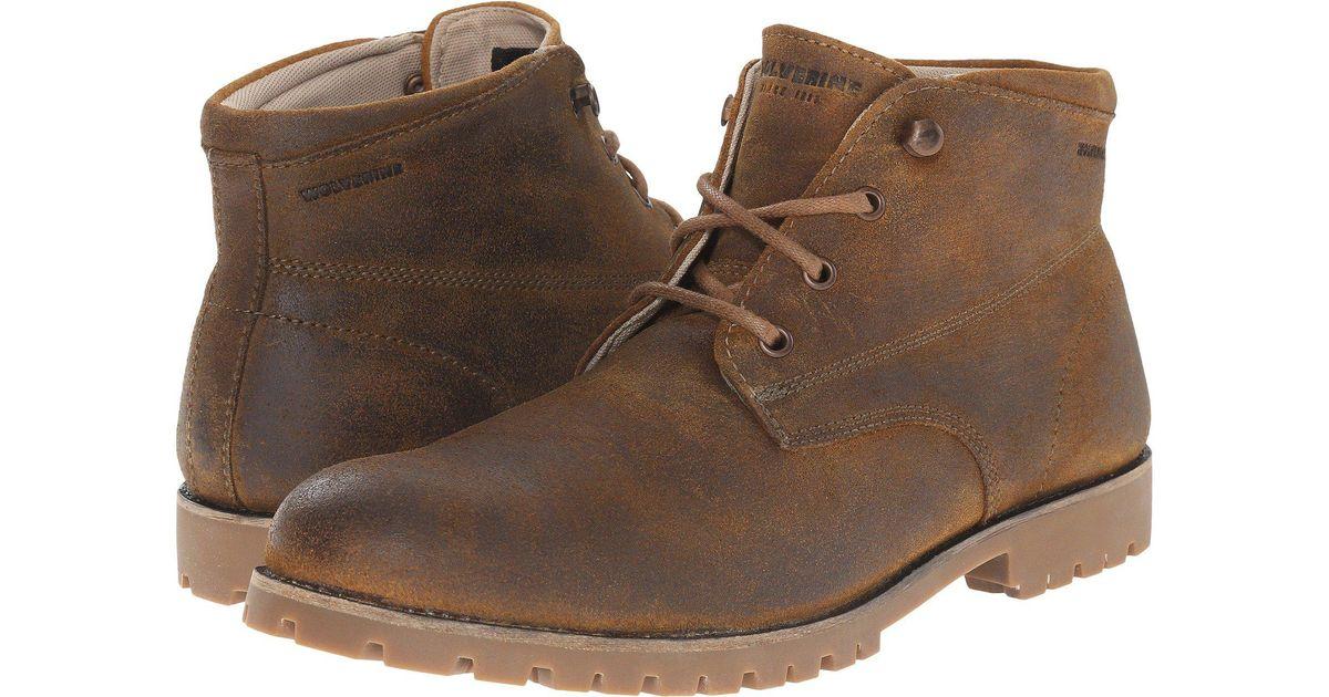 41024851588 Wolverine Brown Cort Waterproof Leather Chukka (grey Suede) Men's Work  Boots for men