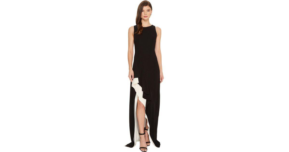 Halston Heritage Womens Sleeveless Round Neck Colorblocked Flounce Skirt Dress