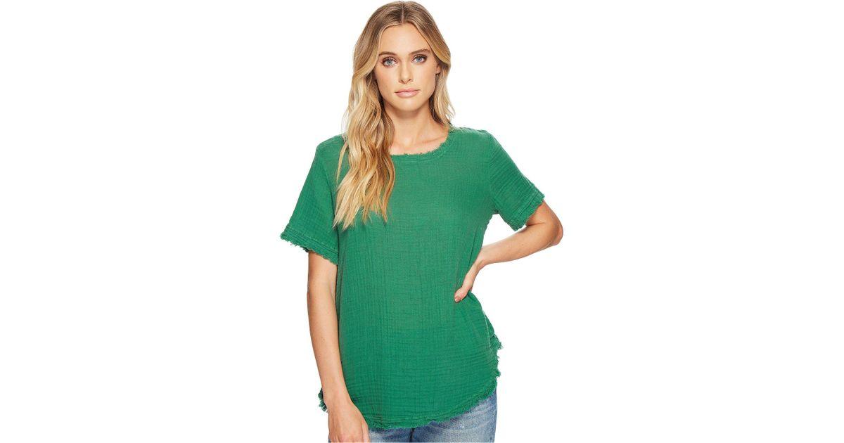 714c7e1b814be Lyst - Michael Stars Double Gauze Short Sleeve Raw Edge Tee in Green - Save  18%