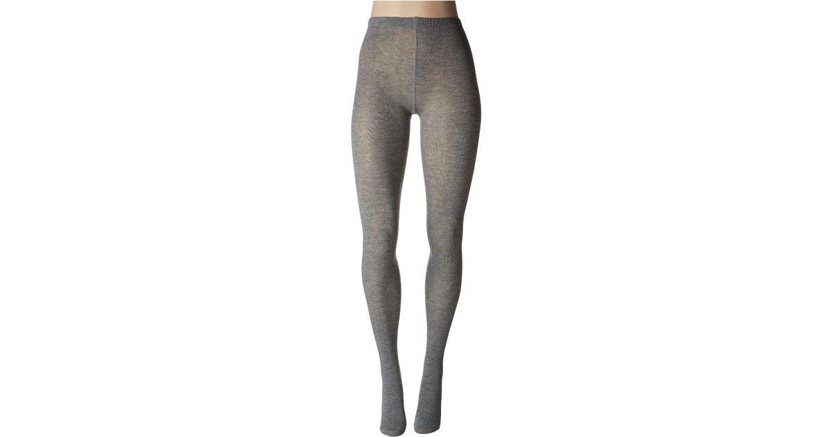 2d016f7719feb Lyst - Hue Flat Knit Sweater Tights in Gray