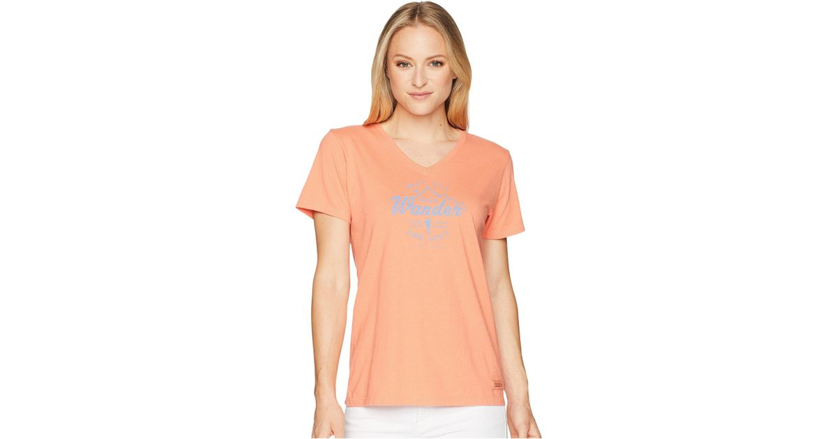 e1e94ec4 Lyst - Life Is Good. Wander Hike Crusher Vee (fresh Coral) Women's T ...