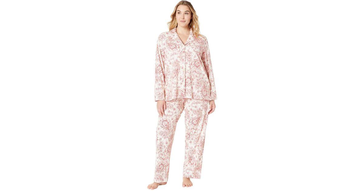 f3b9fddb Lauren by Ralph Lauren Red Plus Size Classic Knit Notch Collar Pajama Set