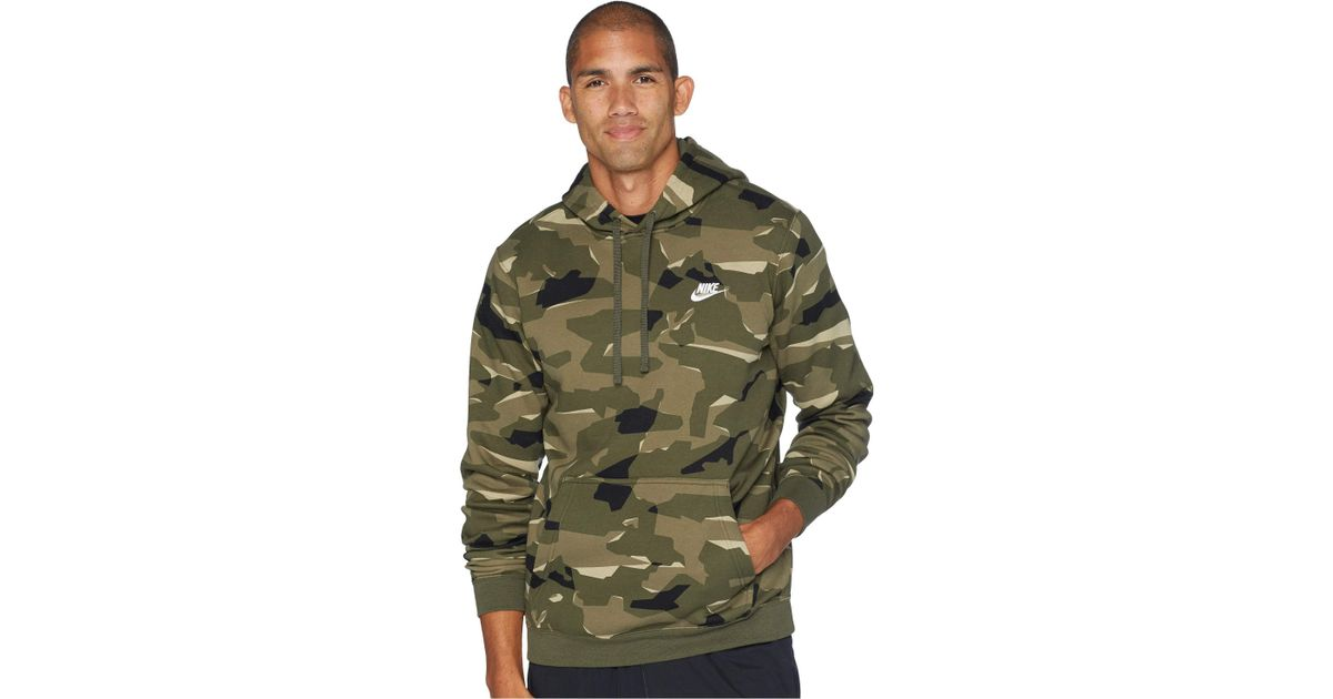 Nike Green Nsw Club Camo Hoodie Pullover Bb (midnight Navymidnight Navywhite) Men's Sweatshirt for men