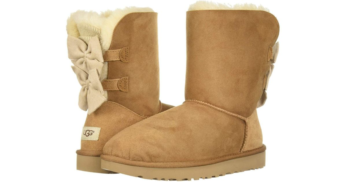 56e581e53f4 Ugg Brown Bailey Bow Short Ruffle (chestnut) Women's Pull-on Boots