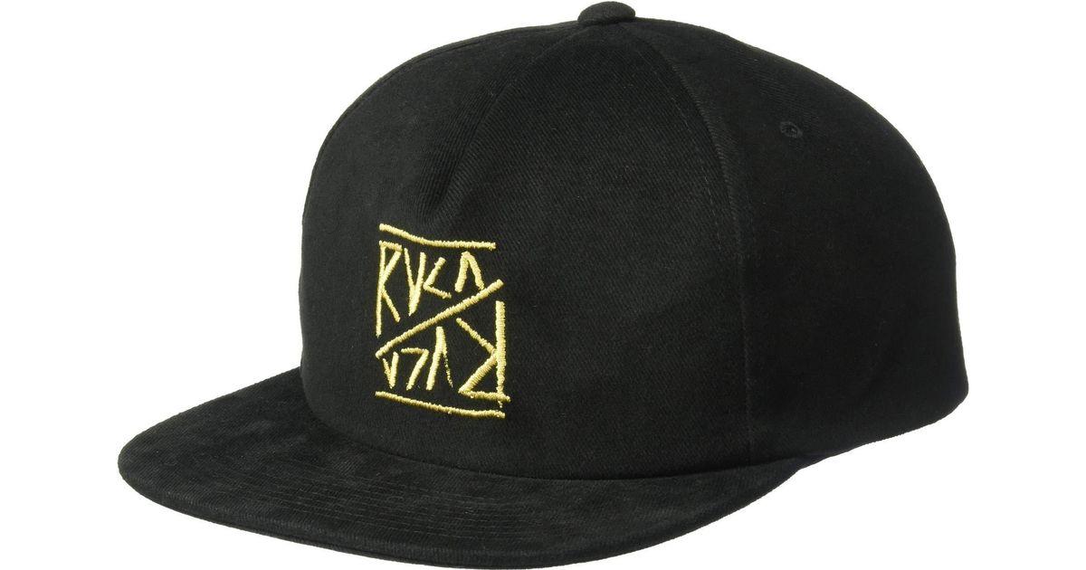 a2a3442c0e656 Lyst - RVCA Slant Box Snapback Hat (black) Baseball Caps in Black for Men