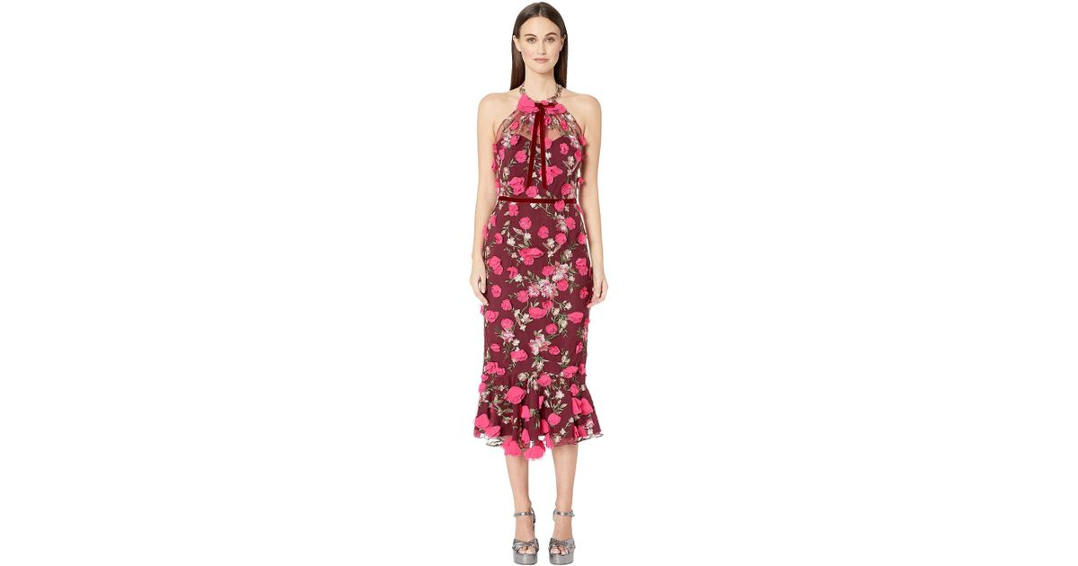 c2d758876ffa Lyst - Marchesa notte Sleeveless Embroidered Halter Cocktail W  3d Flowers  Dress (wine Red) Women s Dress in Red