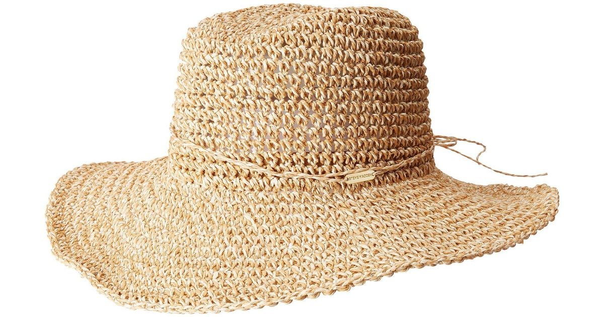 Steve Madden Crochet Cowboy Hat With Ties In Natural Lyst