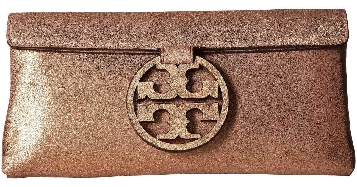 10a2498a4119 Lyst - Tory Burch Miller Metallic Clutch (seashell Pink) Clutch Handbags in  Pink