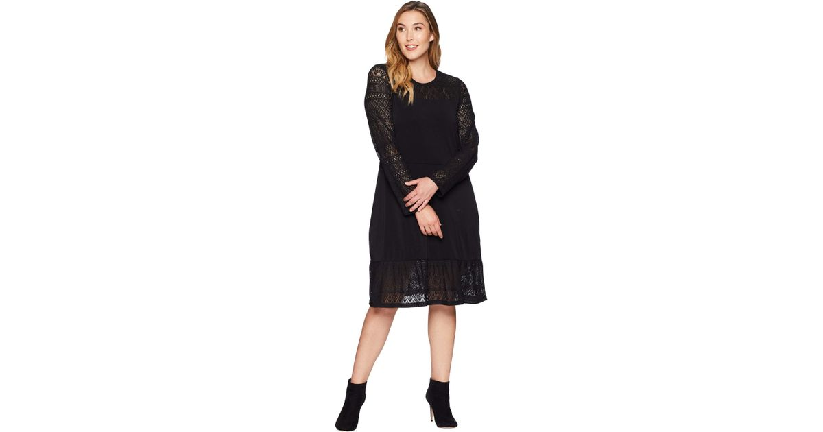 Lyst Michael Michael Kors Plus Size Fabric Mix Long Sleeve Dress